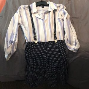 Tops - White/purple blouse w/suspenders navy blue/white.